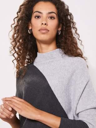 Mint Velvet Blocked Detail Batwing Dress - Grey