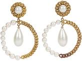 One Kings Lane Vintage Chanel Oversize Pearl Hoop Drop Earrings - Vintage Lux - pearl/gold