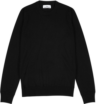 Stone Island Black fine-knit wool jumper