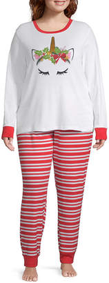 Asstd National Brand Mommy And Me Womens-Plus Pant Pajama Set 2-pc. Long Sleeve