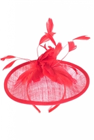 Quiz Red Feather Flower Fascinator