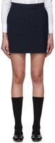 Thom Browne Navy and Black Wool Seersucker Miniskirt
