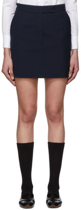 Thom Browne Navy and Black Wool Seersucker Miniskirt