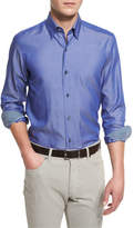 Ermenegildo Zegna Polished Solid Long-Sleeve Sport Shirt, Blue