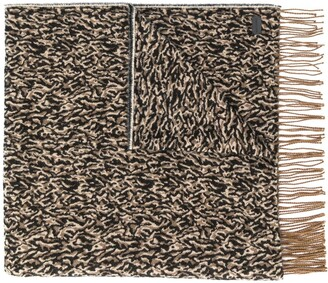 Saint Laurent Camo Knitted Fringed Scarf