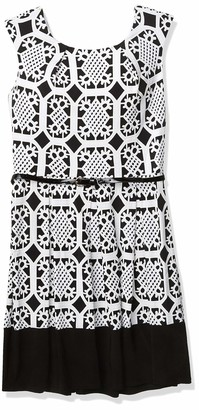 Tiana B T I A N A B. Women's Cap Sleeve Printed Fit Anf Flare Dress with Belt