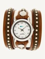 La Mer Brown Silver Bali Stud Wrap Watch.