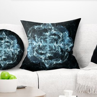 """East Urban Home Floral Fractal Flower Explosion Throw Pillow Color: Blue, Size: 16"""" x 16"""", Product Type: Throw Pillow"""