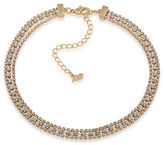 ABS by Allen Schwartz Three Row Goldtone and Crystal Necklace