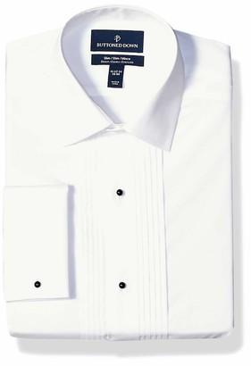 Buttoned Down Amazon Brand Men's Slim Fit Easy Care Bib-Front Spread-Collar Tuxedo Shirt