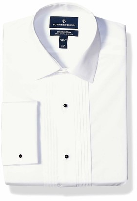 """Buttoned Down Slim Fit Easy Care Bib-front Spread-collar Tuxedo Shirt White 14.5"""" Neck 32"""" Sleeve"""