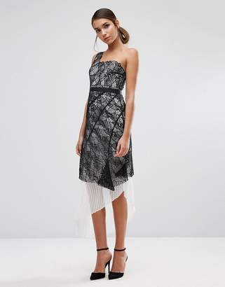 Three floor One Shoulder Lace Dress with Pleated Skirt Underlay-Multi