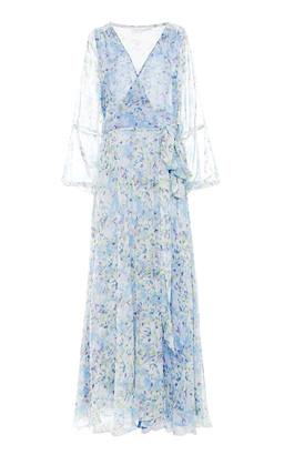 Eywasouls Malibu Lara Long Sleeve Printed Chiffon Dress