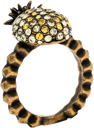 Gucci Pineapple Motif Multi Color Crystal Studded Gold Tone Ring Size 57