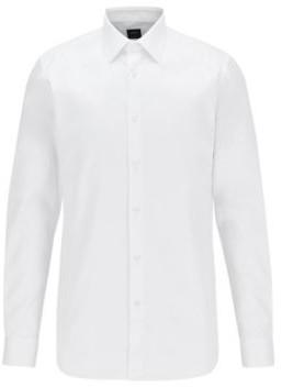 HUGO BOSS Slim Fit Shirt In Diamond Structured Non Iron Cotton - White