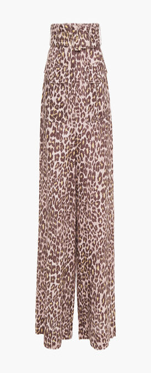 Zimmermann Belted Leopard-print Linen Wide-leg Pants