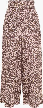 Zimmermann Sabotage Safari Cropped Belted Leopard-print Linen Wide-leg Pants