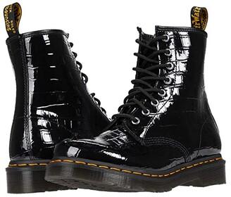 Dr. Martens 1460 (Black Patent Lamper Croc Emboss) Women's Boots