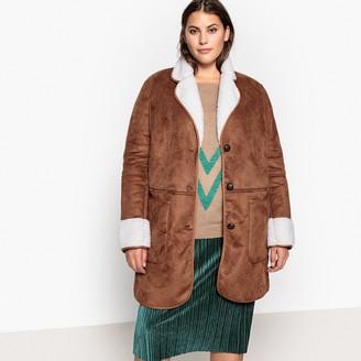 Castaluna Plus Size Faux Sheepskin Lined Faux Suede Coat