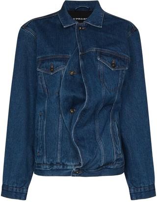 Y/Project Oversized Asymmetric-Fastening Denim Jacket