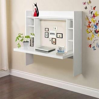 Ebern Designs Wall Mounted Desk With Storage Shelves Home Computer Table Floating Dining Desk Color: Black