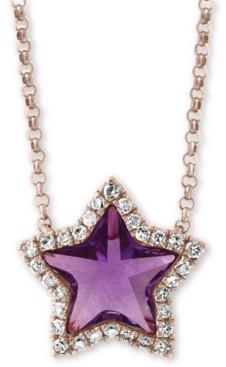 "Effy Amethyst (1 ct. t.w.) & Diamond (1/8 ct. t.w.) 16"" Pendant Necklace in 14k Rose Gold"