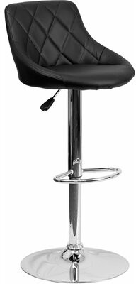Orren Ellis Whelan Low Back Bucket Adjustable Height Swivel Bar Stool Upholstery: Black
