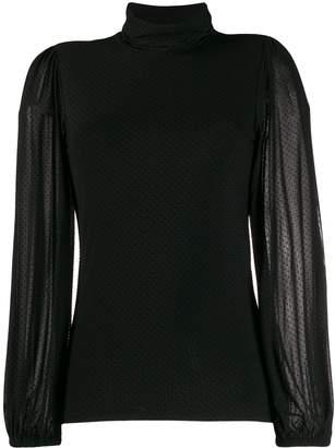 Ganni fitted polka dot blouse