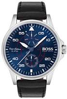BOSS Aviator Multifunction Leather Strap Watch, 44mm