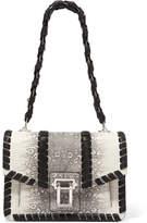 Proenza Schouler Hava Whipstitched Python-effect Leather Shoulder Bag - Gray