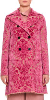 Valentino Devoré; Velvet Brocade Car Coat, Pink