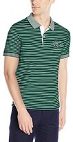 Lacoste Men's Short Sleeve Striped Pima Jersey Printed Croc Regular Fit Polo Shirt