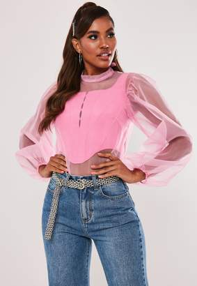 Missguided Pink Organza Puff Sleeve Bow Back Top
