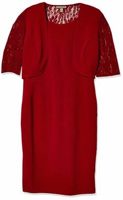 Maya Brooke Women's Lace Trim Jacket Seamed Dress