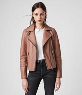 AllSaints Women's Slim Fit Dalby Leather Biker Jacket, Brown, Size: UK 2/US 00