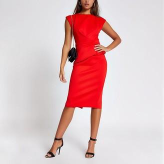 River Island Red frill waist cap sleeve bodycon midi dress