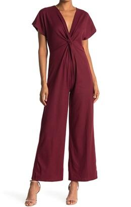 Angie Rib Knit Twist Front Jumpsuit
