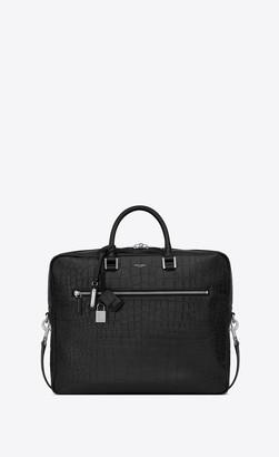 Saint Laurent Sac De Jour Large Briefcase In Crocodile Embossed Leather Black Onesize