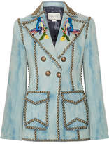 Gucci Studded Embroidered Denim Blazer - Mid denim