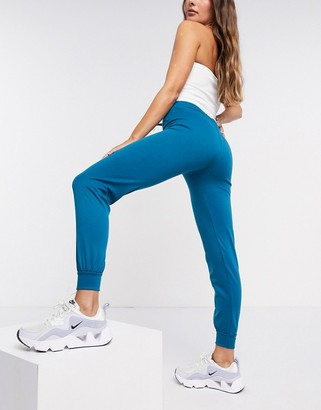 Street Collective mix and match high waisted joggers in teal blue
