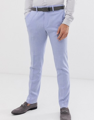 ASOS DESIGN wedding skinny suit trousers in lilac cross hatch