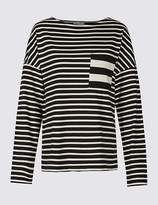 Marks and Spencer Pure Cotton Striped Long Sleeve T-Shirt