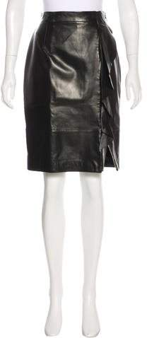Givenchy Leather Ruffled Skirt