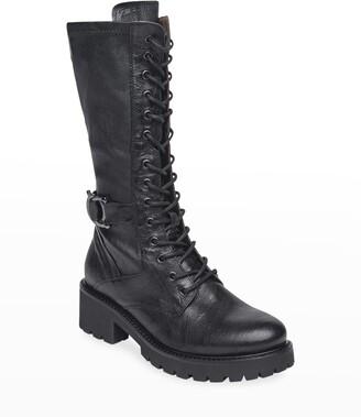 Nero Giardini Leather Tall Combat Moto Boots