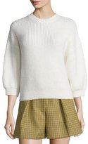 3.1 Phillip Lim Ribbed 3/4-Sleeve Crewneck Pullover Sweater, Antique White