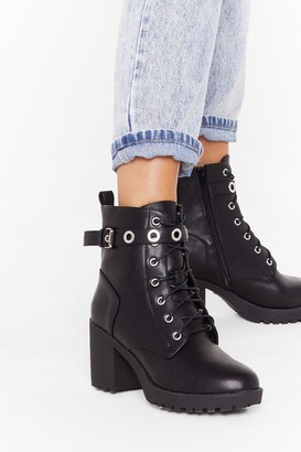 Nasty Gal Womens Look Me in the Eyelet Faux Leather Hiker Boots - Black