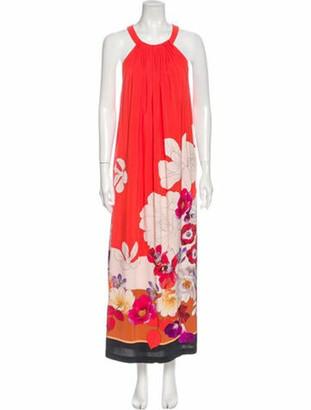 Kobi Halperin Floral Print Long Dress w/ Tags Red