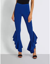Missguided Frilled-hem stretch-woven trousers