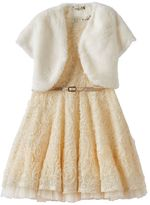 Knitworks Girls 7-16 Faux-Fur Bolero & Gold Sequin Soutache Dress Set