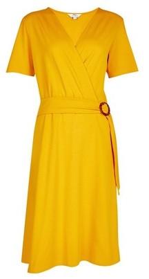 Dorothy Perkins Womens Tall Yellow Horn Effect Buckle Dress, Yellow